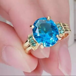 ❤️gorgeous Turkish aquamarine gold filled ring 6